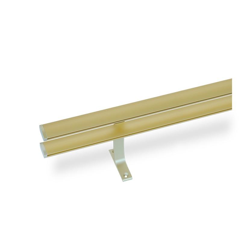 Κουρτινόξυλο αλουμινίου διπλό με σιδηρόδρομο χρυσό ματ OEM