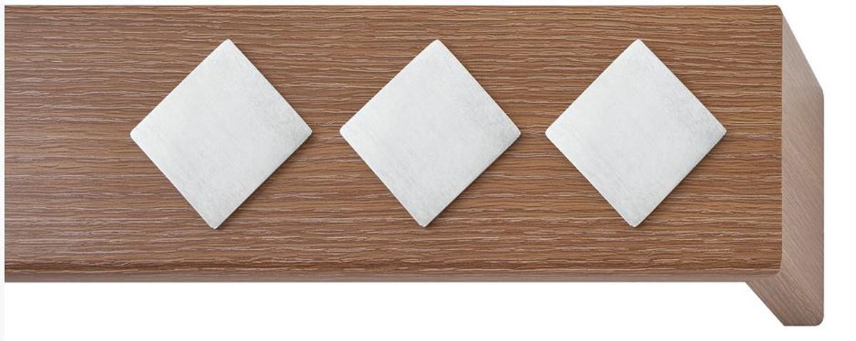Κουρτινόξυλο μετόπη ξύλινη Viometale Andriana  Δρυς καφέ 336 νίκελ/ματ τετράγωνο