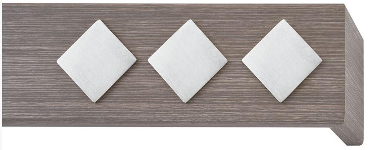 Κουρτινόξυλο μετόπη ξύλινη Viometale Andriana  Δρυς γκρι 505 νίκελ/ματ τετράγωνο