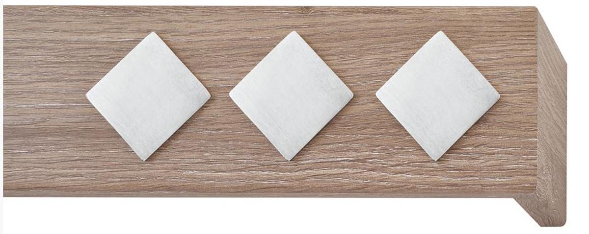 Κουρτινόξυλο μετόπη ξύλινη Viometale Andriana  Δρυς μόκα 615 νίκελ/ματ τετράγωνο
