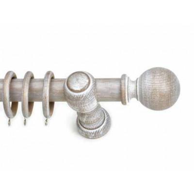 Κουρτινόξυλο ξύλινο στρογγυλό Clasico S bianco Φ35