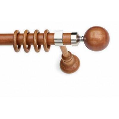 Κουρτινόξυλο ξύλινο στρογγυλό με μεταλλικά στοιχεία MARIZA Μελί Φ35