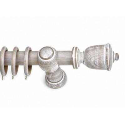 Κουρτινόξυλο ξύλινο στρογγυλό Trulo Sbianco Φ35