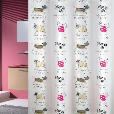 Κουρτίνα μπάνιου πλαστική PEVA JOY Cats 180x200