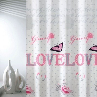 Κουρτίνα μπάνιου υφασμάτινη JOY Love 180x200