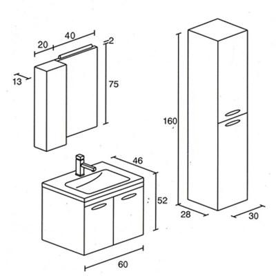Έπιπλο μπάνιου Ακαρίων-Akarion 60x52 σε 7 αποχρώσεις