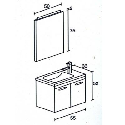 Έπιπλο μπάνιου Φιλύρα-Filira 55x52 σε 7 αποχρώσεις