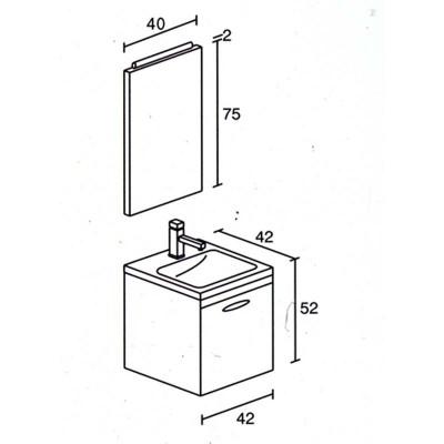 Έπιπλο μπάνιου Λαοδίκη-Laodiki 42x52 σε 7 αποχρώσεις