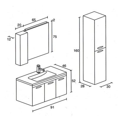 Έπιπλο μπάνιου Σίμων-Simon 91x52 σε 7 αποχρώσεις