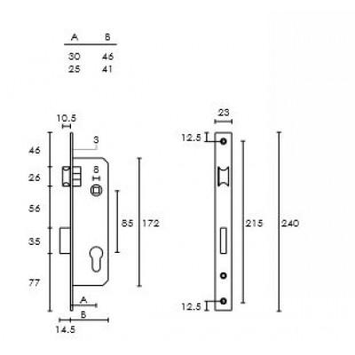 Κλειδαριά Πόρτας Αλουμινίου - Σιδήρου Conset σε νίκελ ματ