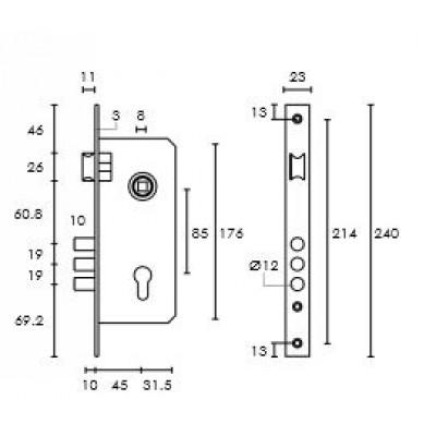 Κλειδαριά Εξώθυρας Ασφαλείας με αφαλό Conset σε νίκελ ματ και ορείχαλκο ματ