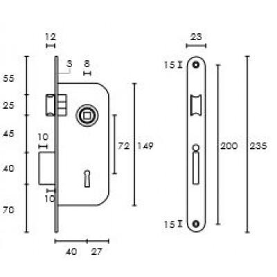 Κλειδαριά Εσωτερικής Πόρτας Conset C5440 σε ορείχαλκο ματ