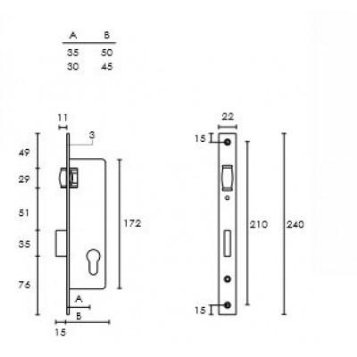 Κλειδαριά Πόρτας Αλουμινίου - Σιδήρου (Μπίλια) Conset σε χρώμιο