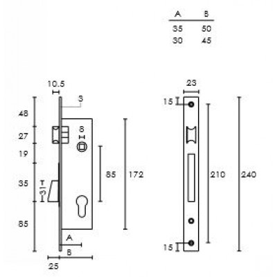 Κλειδαριά Πόρτας Αλουμινίου - Σιδήρου Conset σε χρώμιο