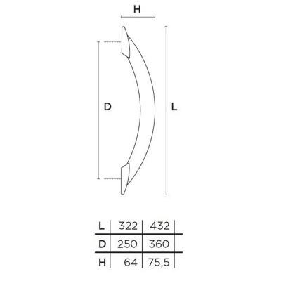Λαβή Εξώπορτας Convex 451 ματ νίκελ/ανοξείδωτο