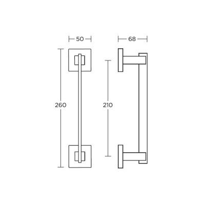 Λαβή Εξώπορτας Convex 745 ματ νίκελ/ χρώμιο