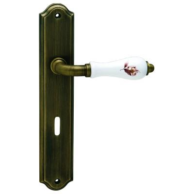 Πόμολα πόρτας με πλάκα Viometale 06.590 άσπρη πορσελάνη μπρονζέ