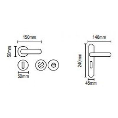 Πόμολα πόρτας με πλάκα Viometale 06.1030 μπρονζέ