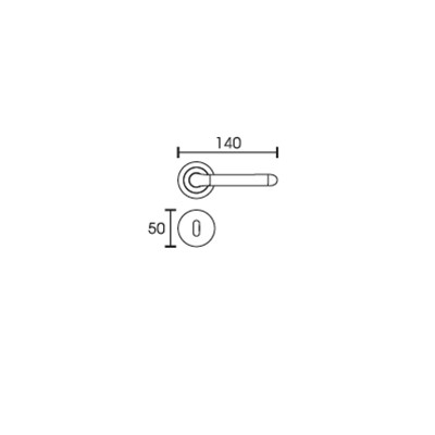 Πόμολο πόρτας με ροζέτα Conset C1255 νίκελ ματ/χρώμιο