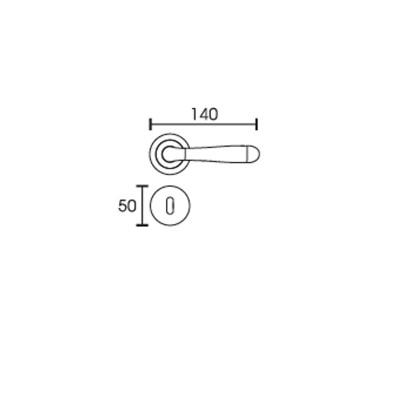 Πόμολο πόρτας με ροζέτα Conset C1265 νίκελ ματ/χρώμιο