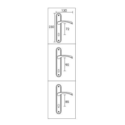 Πόμολο πόρτας με πλάκα Conset C805  νίκελ ματ