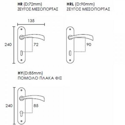 Πόμολο πόρτας Conset C1405 με πλάκα νίκελ ματ