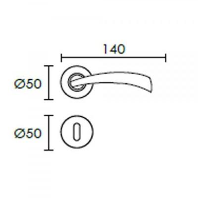 Πόμολο πόρτας με ροζέτα Conset C1405 νίκελ ματ