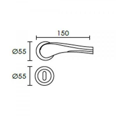 Πόμολο πόρτας με ροζέτα Conset C1435 νίκελ ματ/χρώμιο