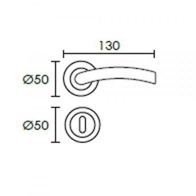 Πόμολο πόρτας με ροζέτα Conset C1645 νίκελ ματ/χρώμιο