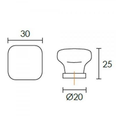 Πομολάκι επίπλων Conset C1073 τετράγωνο πορσελάνη