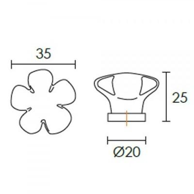 Πομολάκι επίπλων Conset C1079 λουλούδι πορσελάνη
