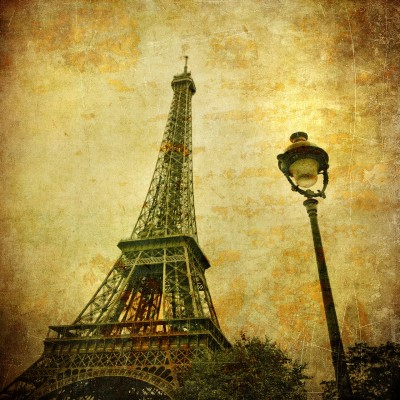Ταπετσαρία Vintage - Μουσική 3 Πύργος του Άιφελ σε καρτ ποστάλ