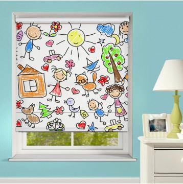 Ρόλερ Ψηφιακής Εκτύπωσης Μερικής Συσκότισης XN0041 Παιδική Ζωγραφιά