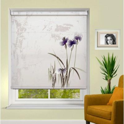 Ρόλερ Μερικής Συσκότισης AB0024 Σχέδιο Abstract-Μώβ λουλούδια