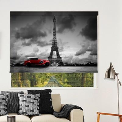 Ρόλερ Μερικής Συσκότισης CI0011 Πόλη-Παρίσι Πύργος του Άιφελ, κλασικό κόκκινο αυτοκίνητο