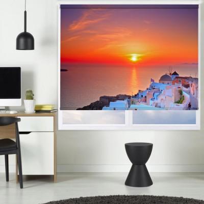Ρόλερ Ψηφιακής Εκτύπωσης Μερικής Συσκότισης GI0006 Ελληνικά Νησιά-Ηλιοβασίλεμα στη Σαντορίνη