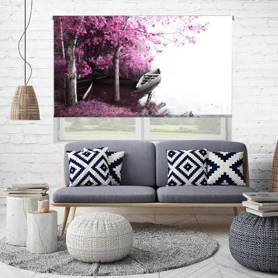 Ρόλερ - Ρολοκουρτίνα Σχέδιο Φύση - Λουλούδια - Floral 169 Μωβ Λίμνη