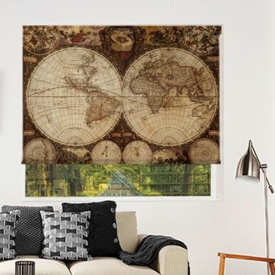 Ρόλερ Μερικής Συσκότισης VM0004 Vintage maps-Παγκόσμιος χάρτης