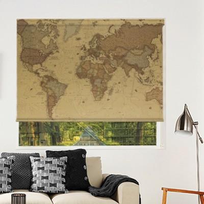Ρόλερ Μερικής Συσκότισης VM0010 Vintage maps-Παγκόσμιος χάρτης