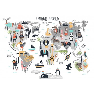 Ταπετσαρία Παιδικό - Εφηβικό 304 Παγκόσμιος χάρτης με ζωάκια