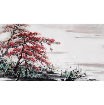 Ταπετσαρία τοίχου  Φύση - Λουλούδια - Floral 173 Λίμνη με κόκκινο δέντρο