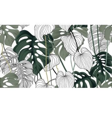 Ταπετσαρία τοίχου  Φύση - Λουλούδια - Floral 174 Τροπικά φύλλα