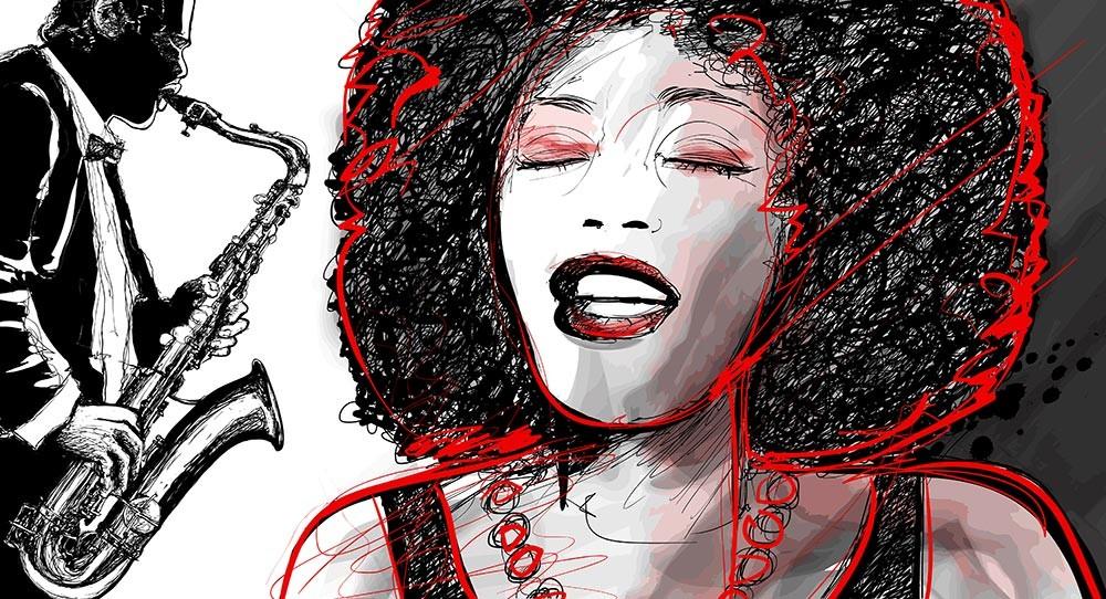 Ταπετσαρία τοίχου Vintage - Μουσική 114  Jazz Girl