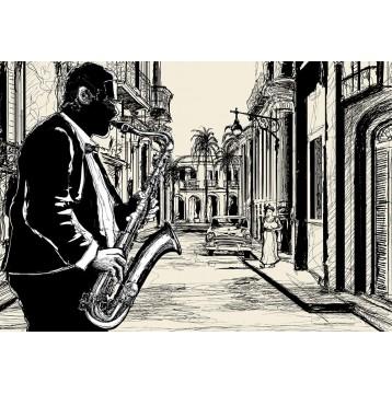 Ταπετσαρία τοίχου Vintage - Μουσική 112 Σαξόφωνο